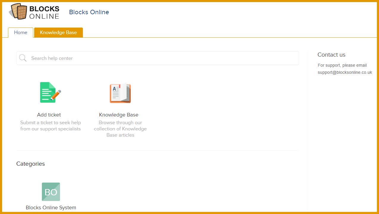 blocks online knowledge base screen