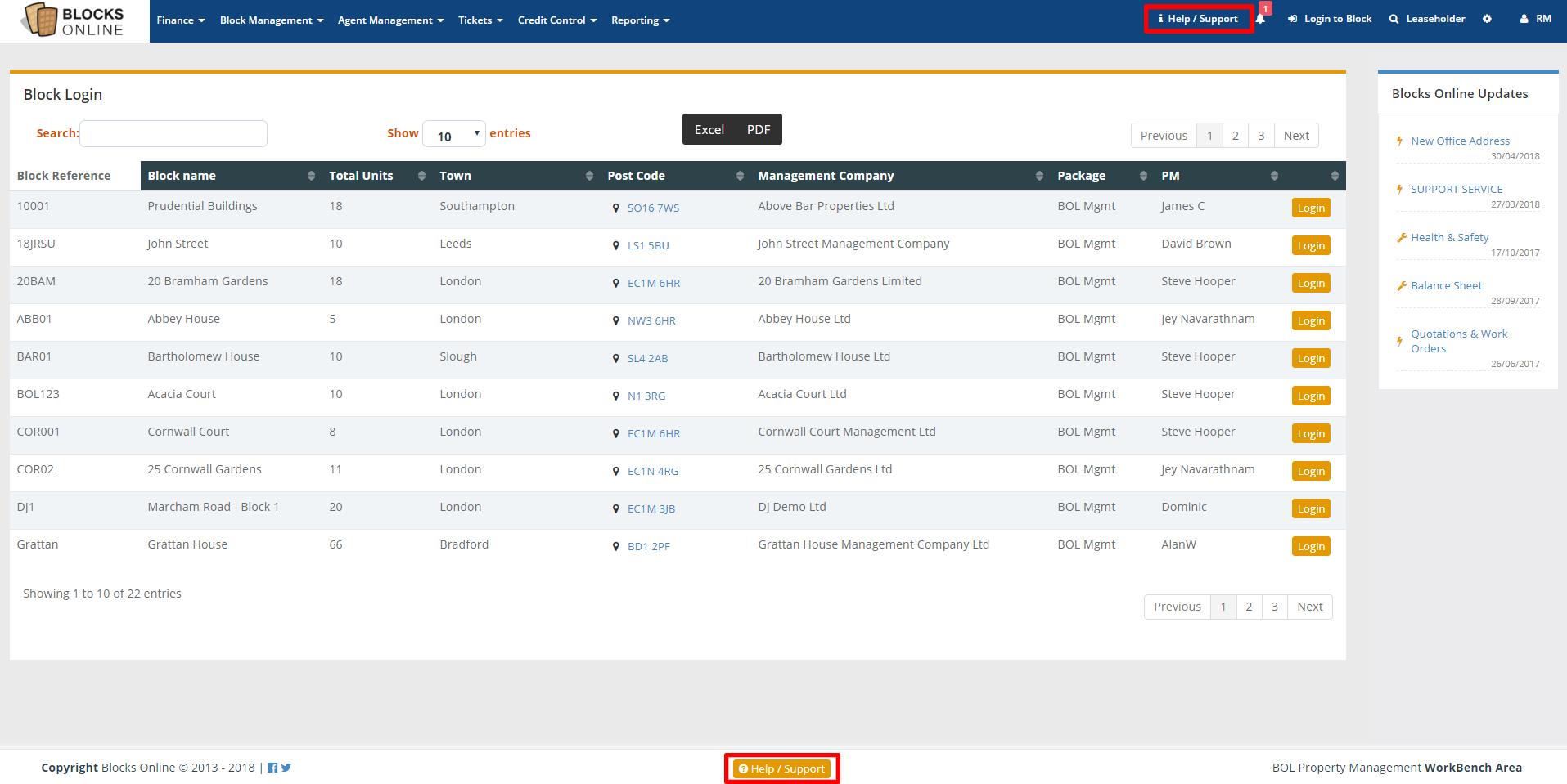 blocks online management dashboard