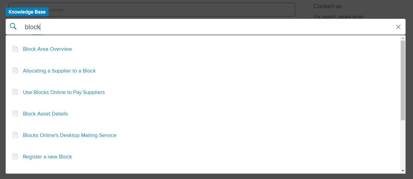 knowlege base search bar