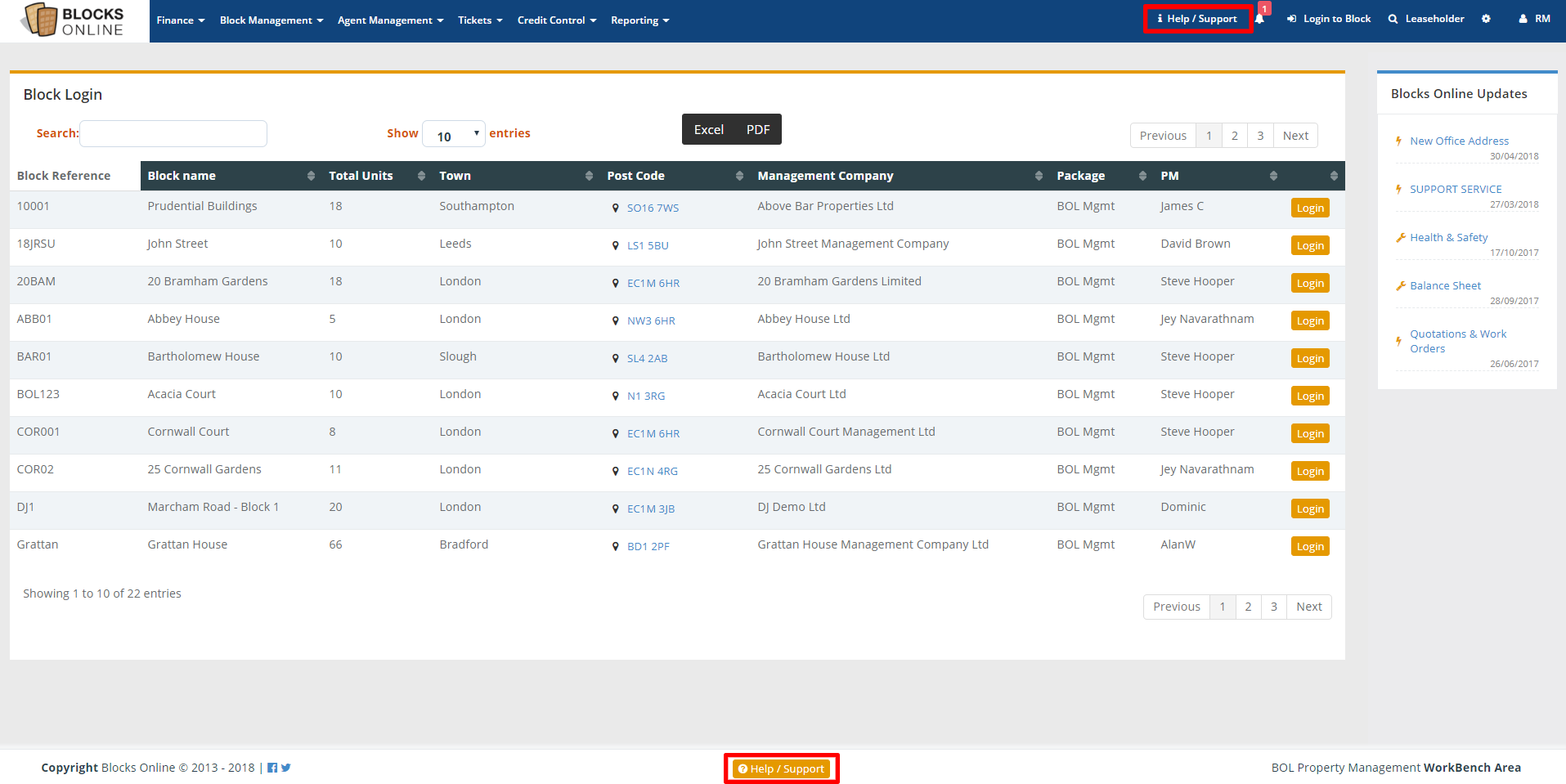 blocks online management dashboard