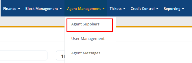 Agent Suppliers - Menu